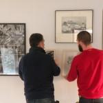 Installation des œuvres prêtées par le FRAC dans notre espace d'exposition